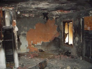 Room that has been destroyed by fire
